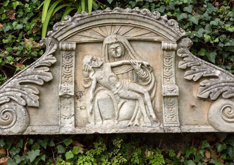 Verkleidungen - Tiling, der eine Krippe in Monte Palace Tropical Garden, Funchal darstellt, Madeira, lizenzfreies stockfoto