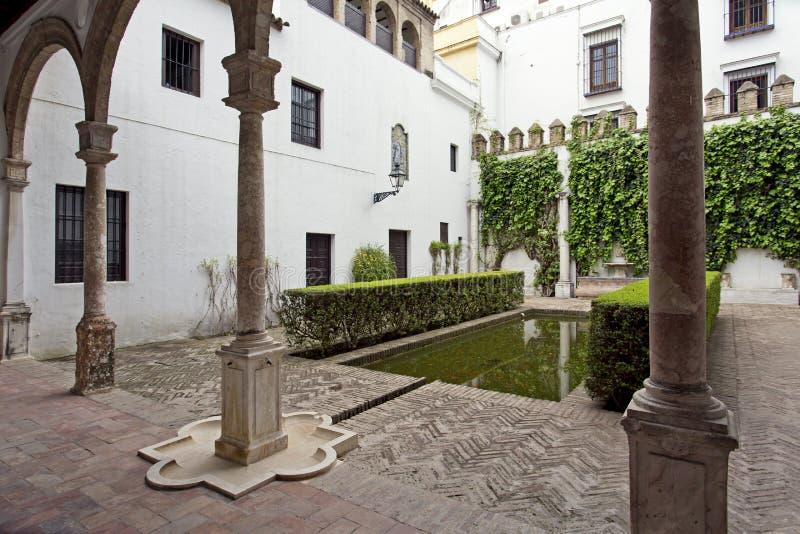 Verklig Alcazar i Seville, Andalusia arkivfoton