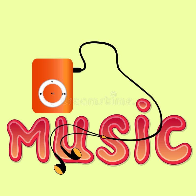 Verklig apelsinmp3-spelare med hörlurar och ordet 'MUSIK', stock illustrationer