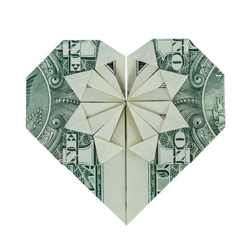 Verklig en dollar Bill Isolated för pengarorigamiHJÄRTA på vit royaltyfri bild