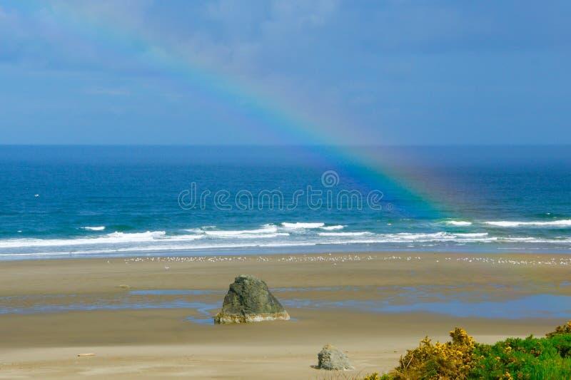 Verklig regnbåge över en Stillahavs- nordvästlig USA strand royaltyfri fotografi