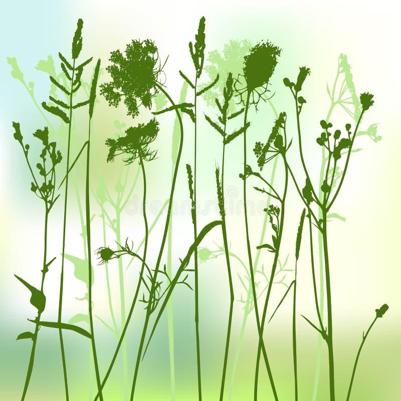 verklig silhouette för gräs stock illustrationer