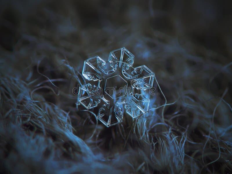 Verklig snöflinga som glöder på mörker texturerad bakgrund arkivbild