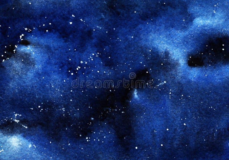 Verklig vattenfärgbakgrund av den stjärnklara natten med whit tappar - stjärnor royaltyfri illustrationer