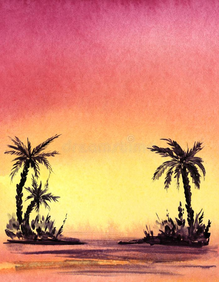 Verklig vattenfärgbakgrund Den mörka konturn av gömma i handflatan trree på en lutningbakgrund stock illustrationer