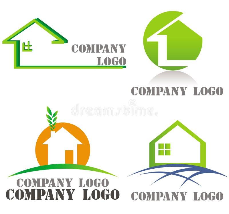 verkliga logoer för grönt hus för arkitekturgods stock illustrationer