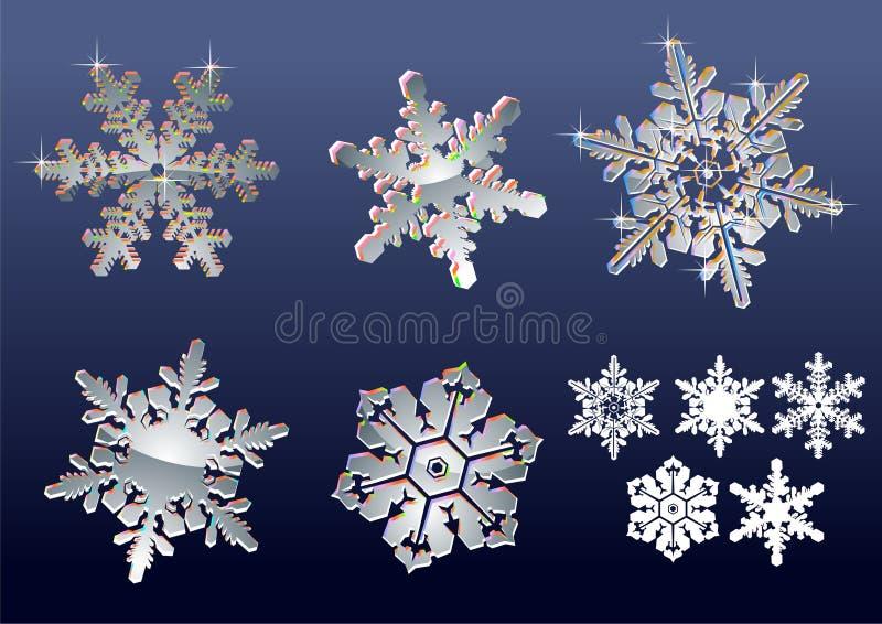 verkliga snowflakes stock illustrationer