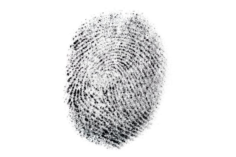 Verkligt fingeravtryck p? vit bakgrund Dactylogram, biometric och personlig IDbegrepp Makro royaltyfria bilder