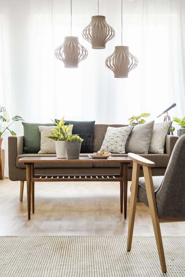 Verkligt foto av en tabell med växter som står mellan en soffa med c royaltyfria bilder
