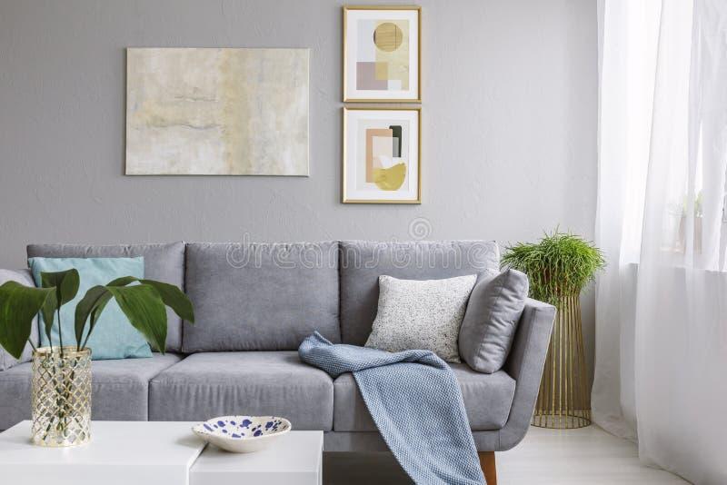 Verkligt foto av ett grått soffaanseende i en stilfull vardagsruminte fotografering för bildbyråer