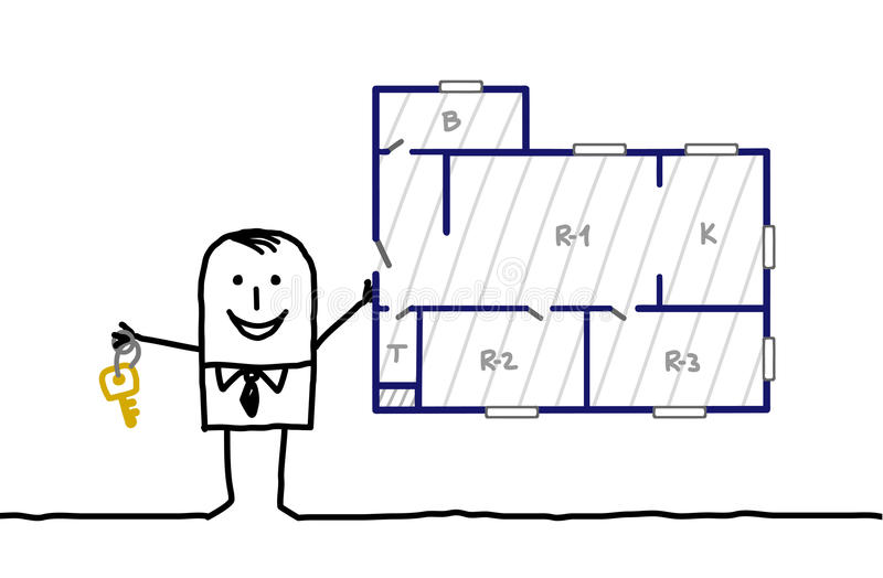 verkligt plan för medelapertmentgods vektor illustrationer