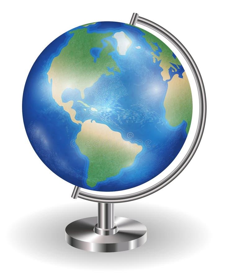 Verkligt planetjordjordklot med stålställningen vektor illustrationer