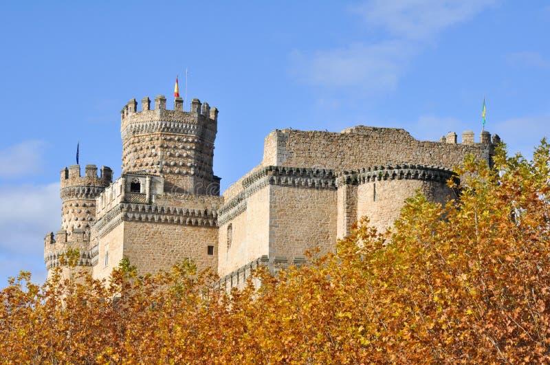 Verkligt slott av Manzanares el, Madrid, Spanien royaltyfria foton