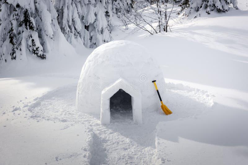 Verkligt snöigloohus i de Carpathian bergen för vinter arkivfoton