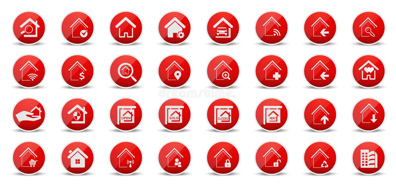 Verkligt tillstånd och hem- rengöringsduksymboler royaltyfri illustrationer