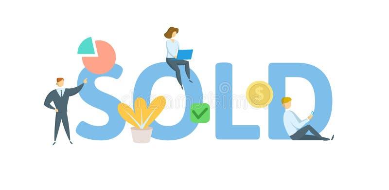 verkocht Concept met sleutelwoorden, brieven, en pictogrammen Vlakke vectorillustratie Geïsoleerdj op witte achtergrond stock illustratie