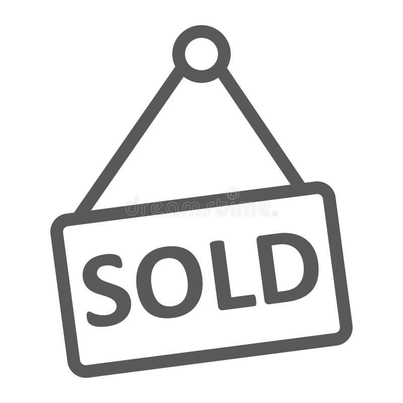 Verkocht onroerende goederen lijnpictogram, en huis, verkoopteken vector illustratie