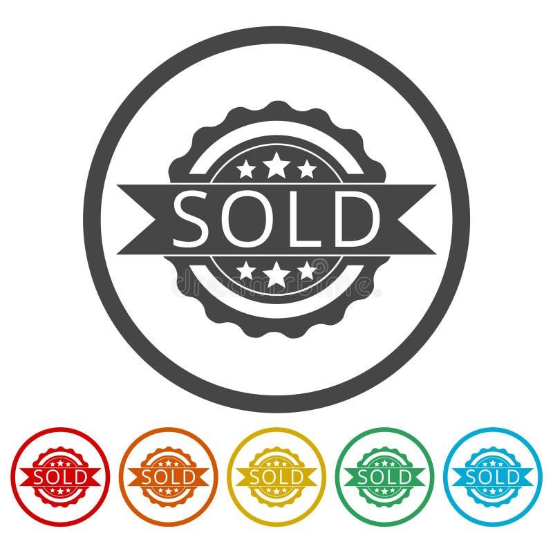 Verkocht teken, geplaatste pictogrammen stock illustratie