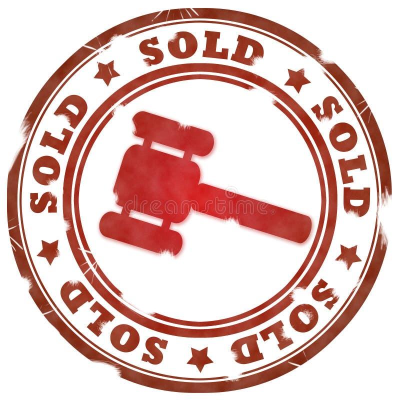 Verkochte rode zegel stock illustratie