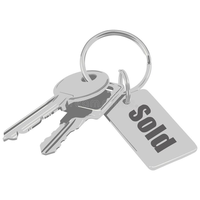 Verkochte sleutels. stock illustratie
