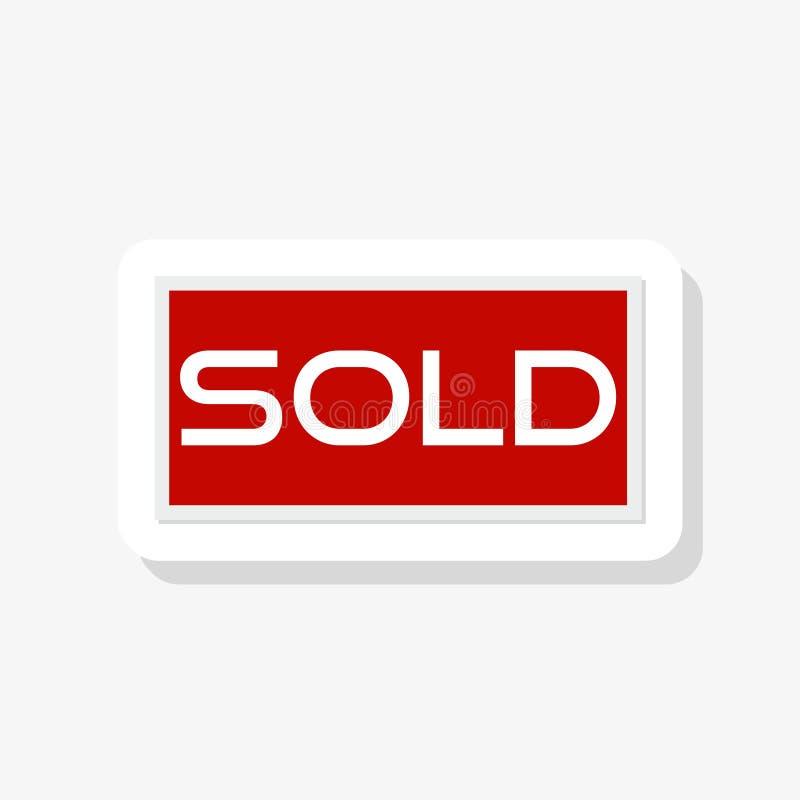 Verkochte sticker op witte achtergrond Rood Verkocht markeringsteken stock illustratie