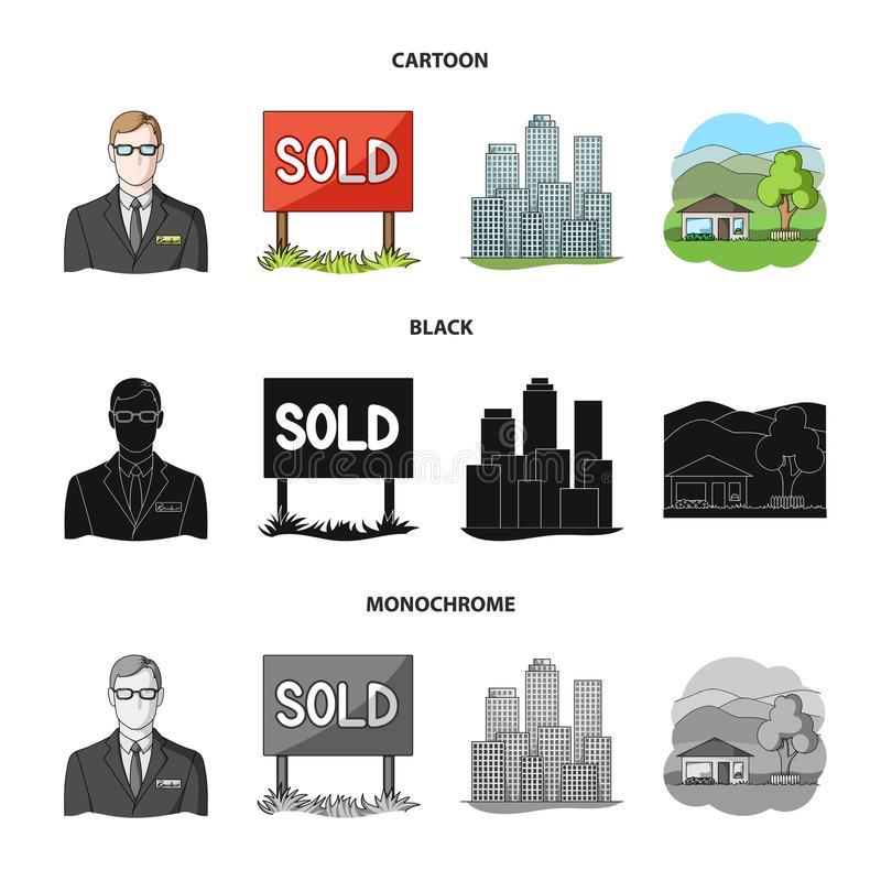 Verkochte werknemer van het agentschap, metropool, buitenhuis E royalty-vrije illustratie