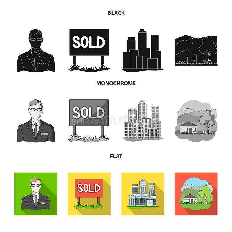 Verkochte werknemer van het agentschap, metropool, buitenhuis Pictogrammen van de makelaar in onroerend goed de vastgestelde inza vector illustratie