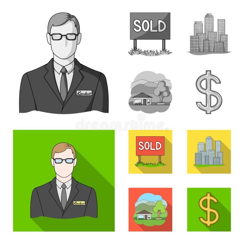 Verkochte werknemer van het agentschap, metropool, buitenhuis Pictogrammen van de makelaar in onroerend goed de vastgestelde inza stock illustratie