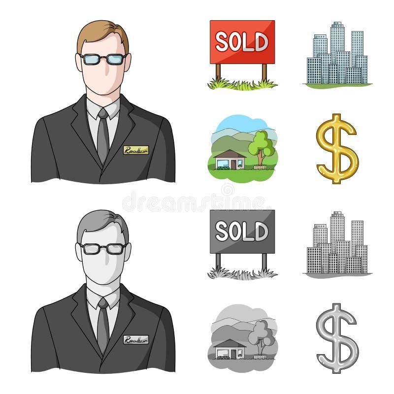 Verkochte werknemer van het agentschap, metropool, buitenhuis Pictogrammen van de makelaar in onroerend goed de vastgestelde inza royalty-vrije illustratie