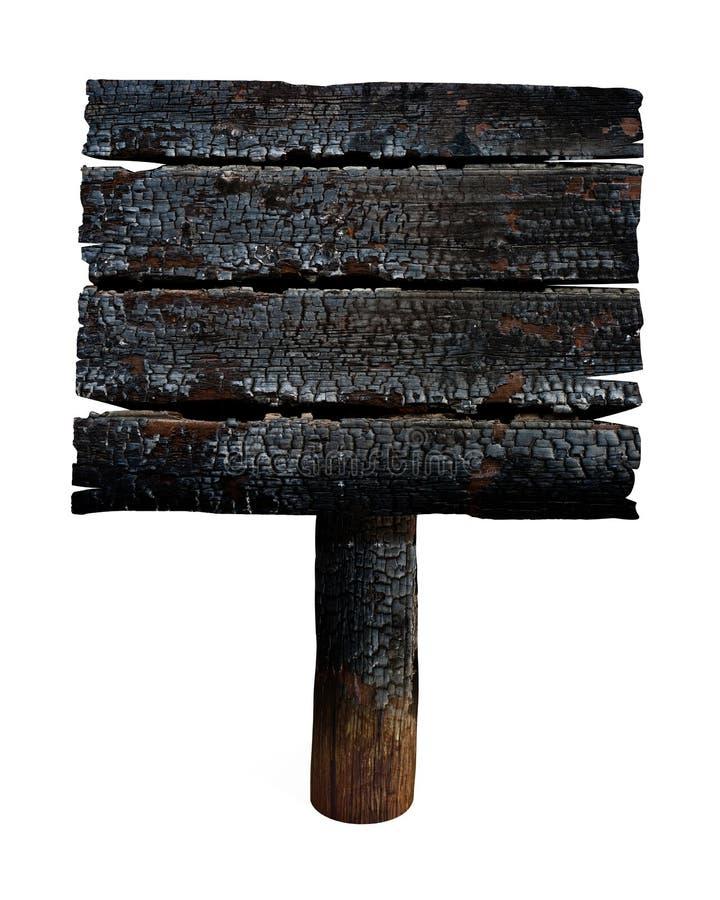 Verkoold houten die uithangbord of teken op wit wordt geïsoleerd stock afbeeldingen