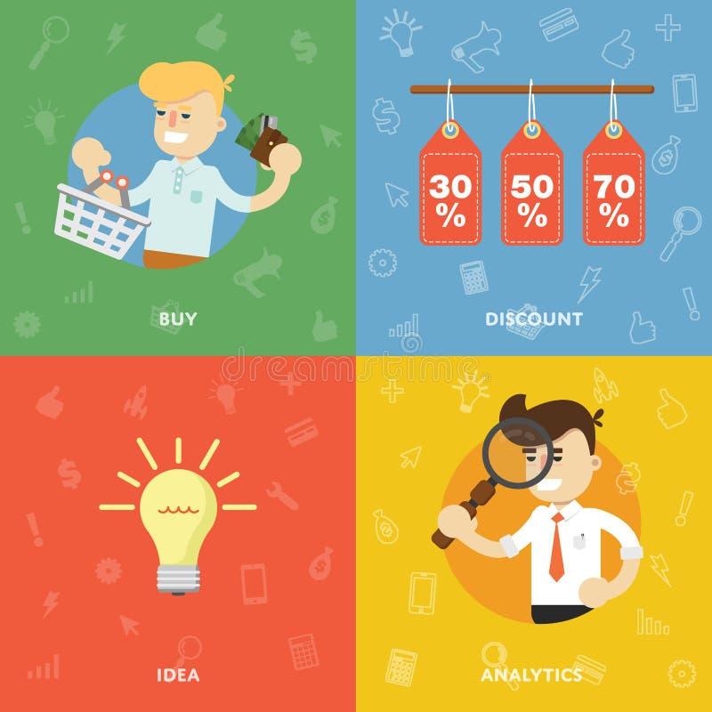 Verkoop, aankopen, kortingen, ideeën en analyse vector illustratie