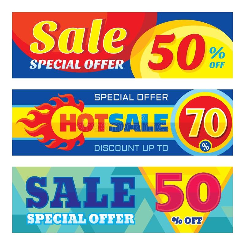 Verkoop abstracte vectorbanner ser - korting tot 50% - 70% Verkoop vectorbanners De abstracte achtergrond van de verkoop Super gr royalty-vrije illustratie