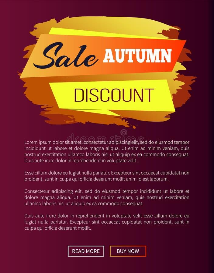 Verkoop Autumn Discount Label op Vectorillustratie stock illustratie