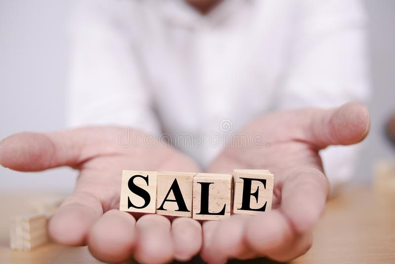 Verkoop, Bedrijfstypografieconcept stock foto