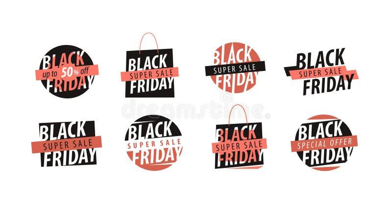 Verkoop, Black Friday-embleem Kortingen, het winkelen embleem of etiket Vector illustratie vector illustratie