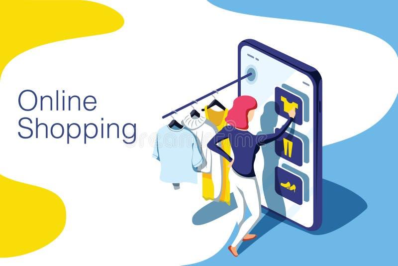 Verkoop, consumentisme en mensenconcept Jonge vrouwenwinkel online het gebruiken smartphone Landend Paginamalplaatje 3d vector stock illustratie