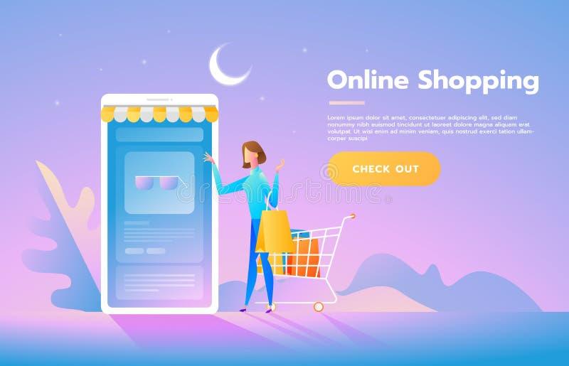 Verkoop, consumentisme en mensenconcept Jonge vrouwenwinkel online het gebruiken smartphone Landend Paginamalplaatje Isometrische royalty-vrije illustratie