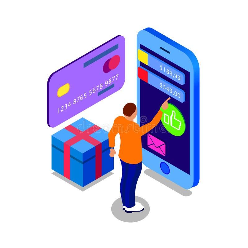 Verkoop, consumentisme en mensenconcept Mensenwinkel online het gebruiken smartphone De gift koopt Landend Paginamalplaatje 3d ve vector illustratie