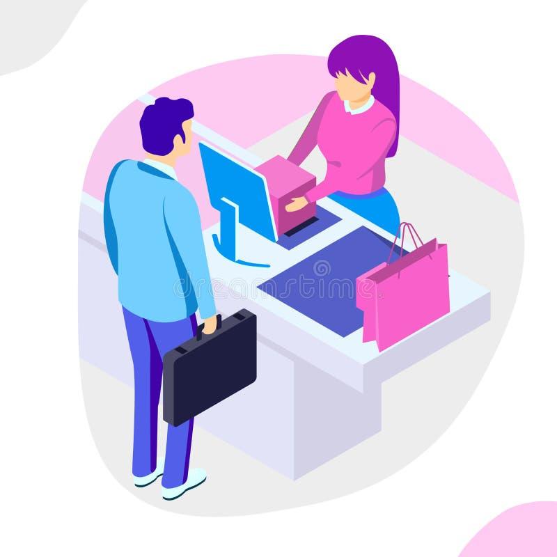 Verkoop, consumentisme en mensenconcept Mensenwinkel online het gebruiken smartphone Landend Paginamalplaatje 3d vector isometris vector illustratie