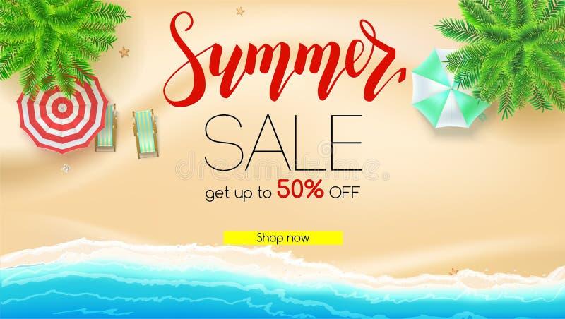 Verkoop De de zomeraanbieding, krijgt tot vijftig percentenkorting Kust, zandig strand met deckchairs, zonparaplu's verminderd vector illustratie