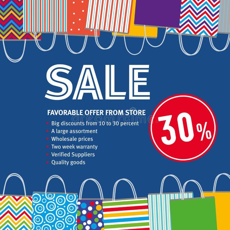 Verkoop 30% Diverse zakken op bluachtergrond stock illustratie