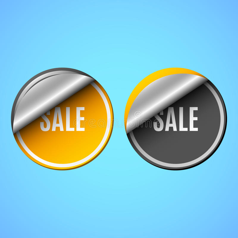 Verkoop Een realistische schilsticker met tekst Plaats voor uw tekst Illustratie voor Webontwerp Oranje en zwarte stickers Schadu vector illustratie