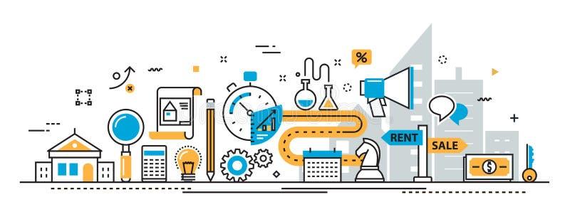 Verkoop en huur van het de onroerende goederenproces van het de dienstagentschap de websitebanner vector illustratie