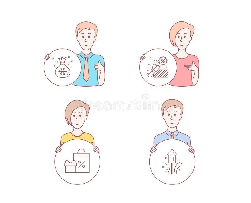 Verkoop, het Winkelen en van de Kerstmanzak pictogrammen Vuurwerkteken Giftdoos, Giften en verkoop, Giftenzak Vector royalty-vrije illustratie