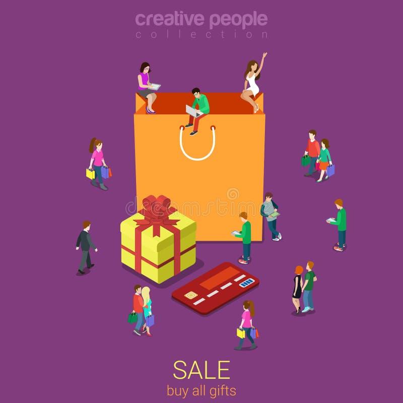 Verkoop het winkelen het consumentisme vlakke vector isometrisch van de zakelektronische handel vector illustratie