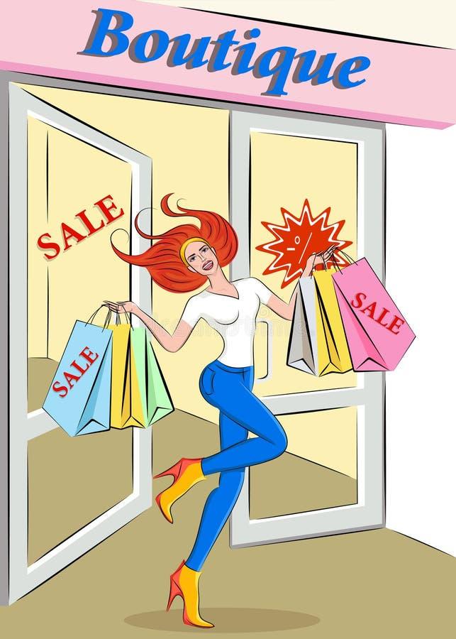 Verkoop Kortingen in de opslag van de vrouwen` s kleding royalty-vrije illustratie
