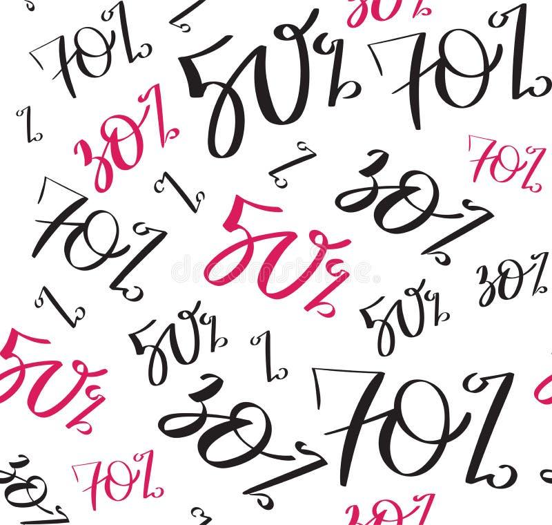 Verkoop naadloos patroon met korting percents 70, 50, 30, met de hand geschreven tekst, typografie, kalligrafie, hand-van letters vector illustratie