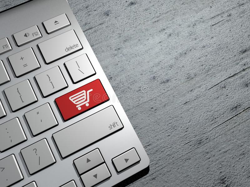 Verkoop, online winkelend, het winkelen aanbiedingen De knopen van het computertoetsenbord het 3d teruggeven vector illustratie