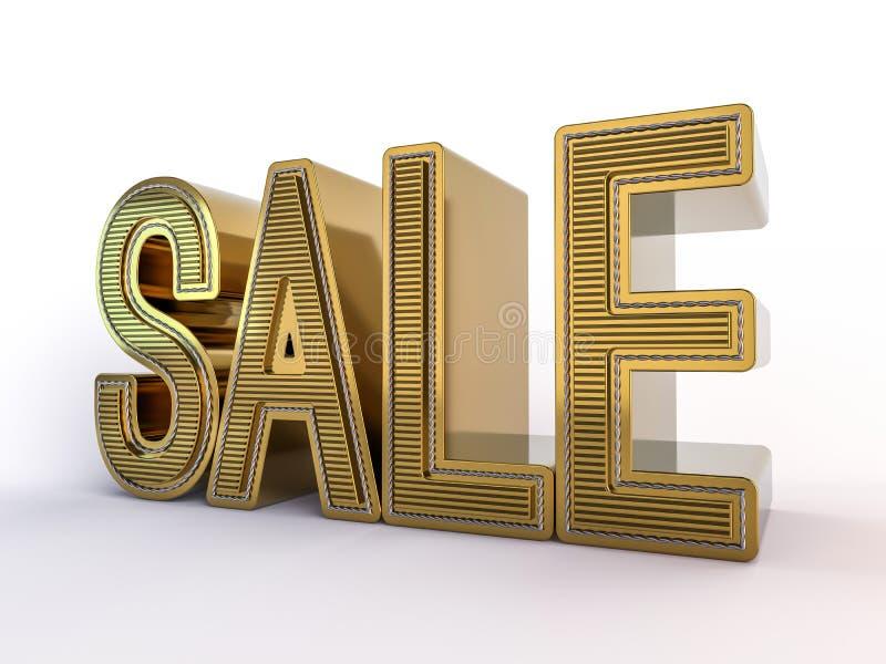 Verkoop, ontwerp voor verkoop, modieuze gouden brieven op een witte achtergrond 3d geef terug vector illustratie
