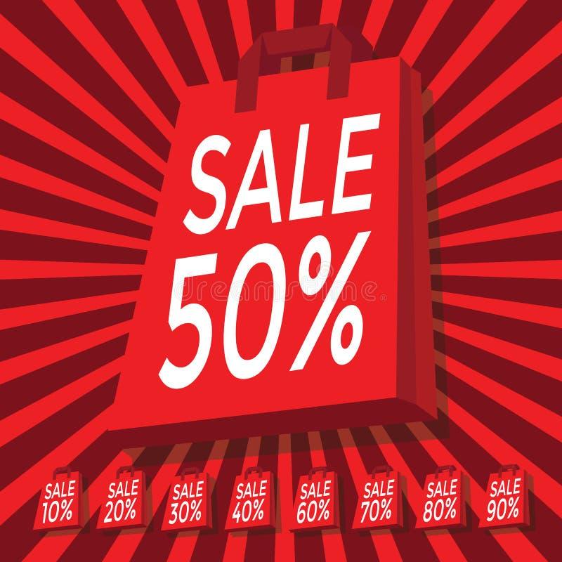Verkoop 10 - 90 percententekst met rode het winkelen zak vector illustratie